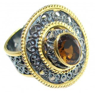 Genuine Smoky Topaz gold Rhodium plated over Sterling Silver ring size adjustable
