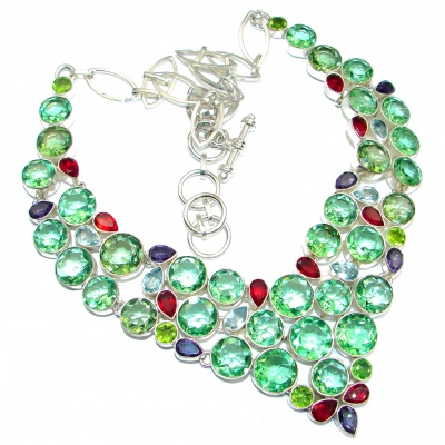 Chunky Design Created Peridot Sterling Silver handmade Necklace