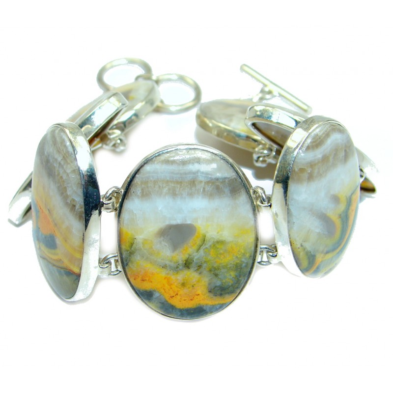 Huge Classic Beauty Yellow Bumble Bee Jasper Sterling Silver Bracelet