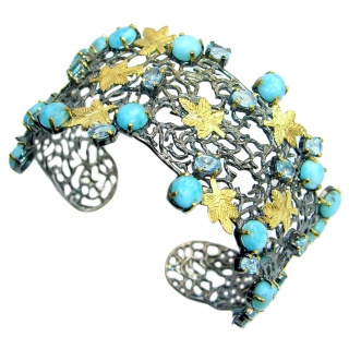 Genuine Blue Larimar Gold Rhodium plated over Sterling Silver handmade Bracelet Cuff
