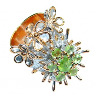 Stylish Genuine Peridot Gold plated over Sterling Silver Ring size 6