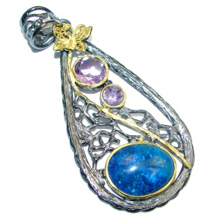Beautiful Doublet Opal Amethyst Gold plated over Sterling Silver handmade Pendant