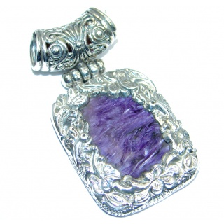 Genuine AAA Purple Siberian Charoite Sterling Silver handcrafted Pendant