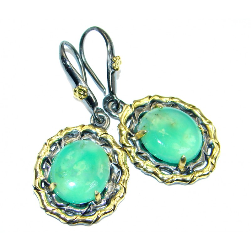 Moss Prehnite Gold Rhodium plated over Sterling Silver earrings