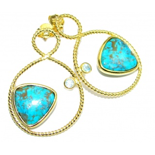 Copper vains in Blue Turquoise Gold plated over Sterling Silver earrings
