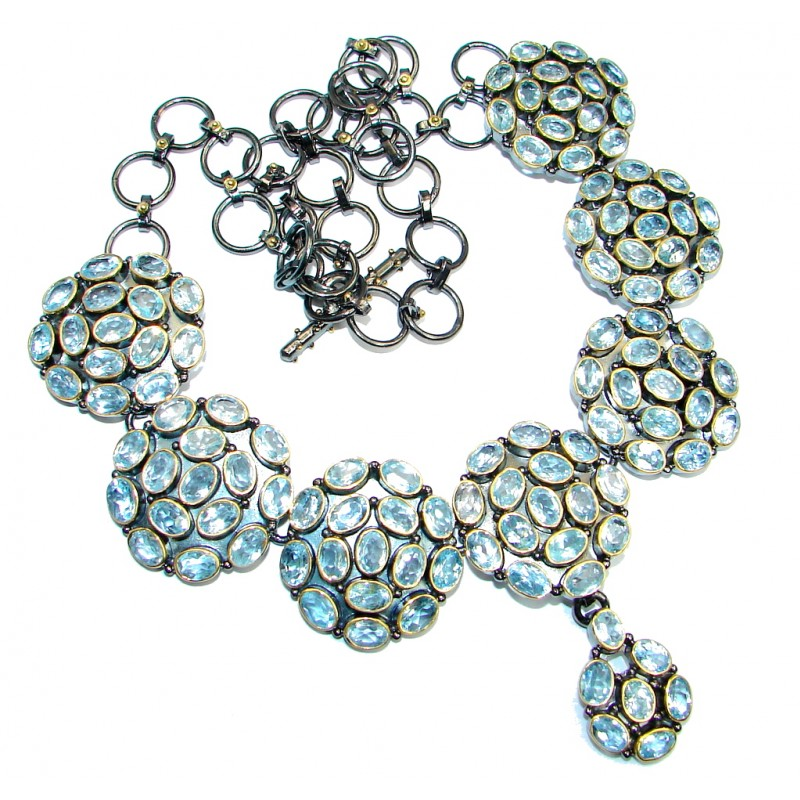 Thousands Stars Swiss Blue Topaz Rose Gold plated over Sterling Silver handcrafted necklace