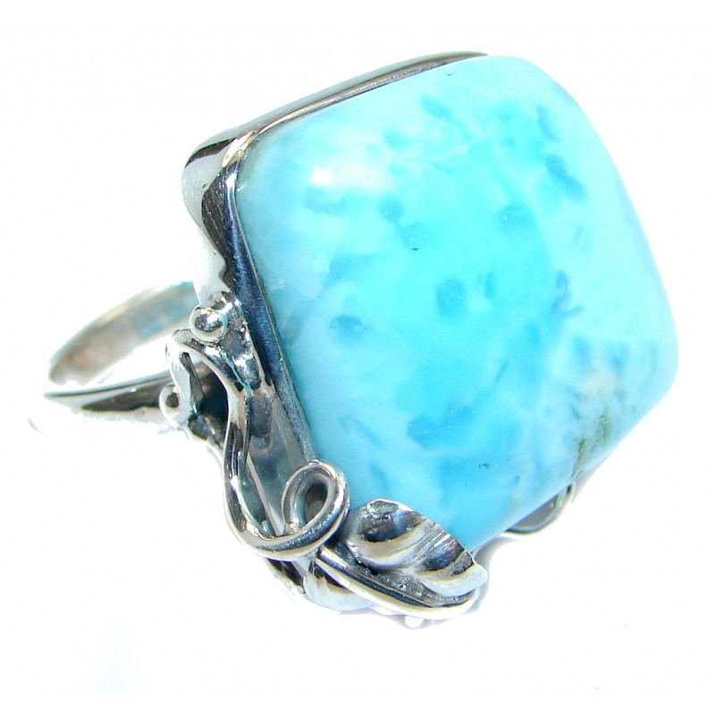 Large Genuine AAA Larimar Sterling Silver handmade Ring size adjustable