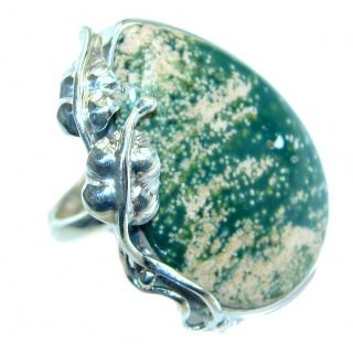 Great quality Ocean Jasper Sterling Silver handcrafted Ring size adjustable