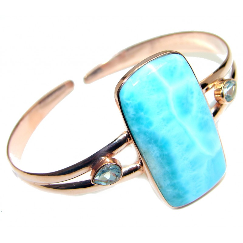 Blue Larimar Rose Gold Rhodium plated over Sterling Silver handmade Bracelet Cuff