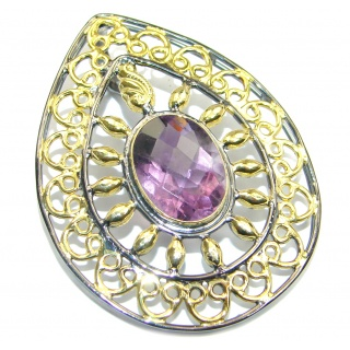 Vintage Style Amethyst Gold Rhodium plated over Sterling Silver Pendant