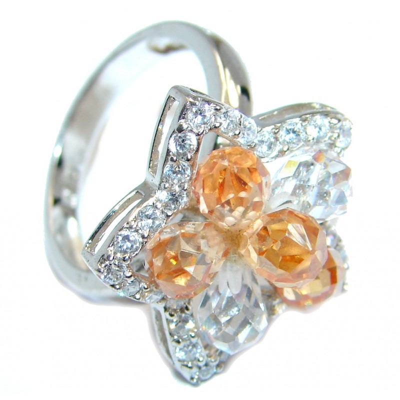 Golden Cubic Zirconia Sterling Silver handcrafted Ring size 8