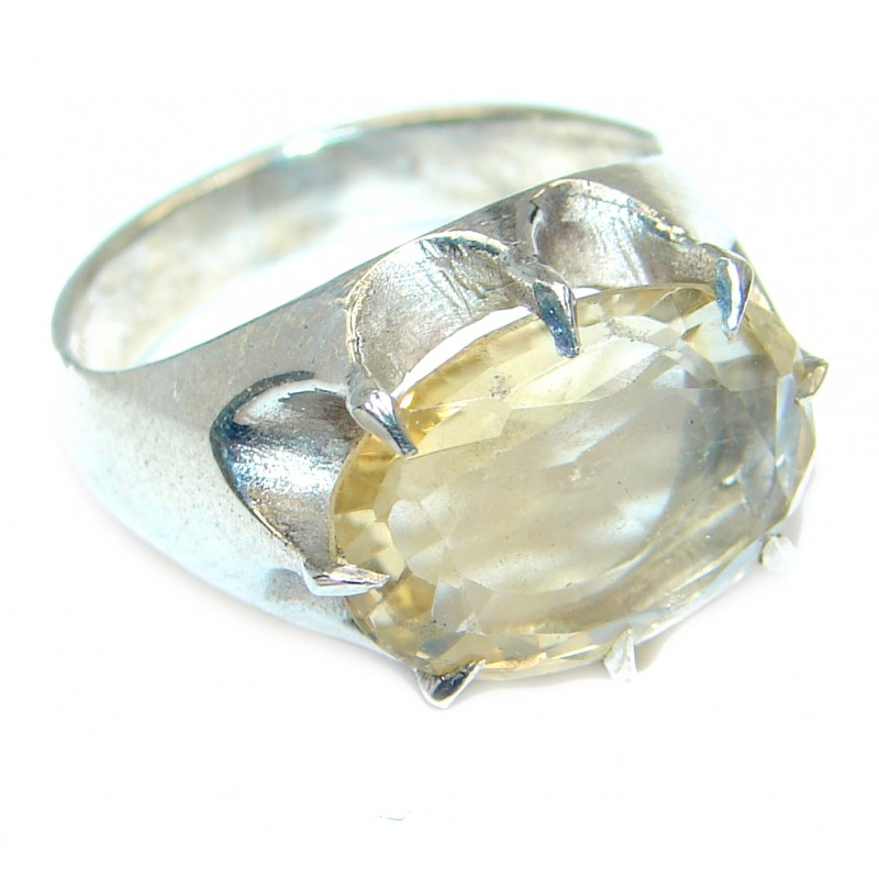 handcrafted Natural Citrine Sterling Silver ring; s. 7