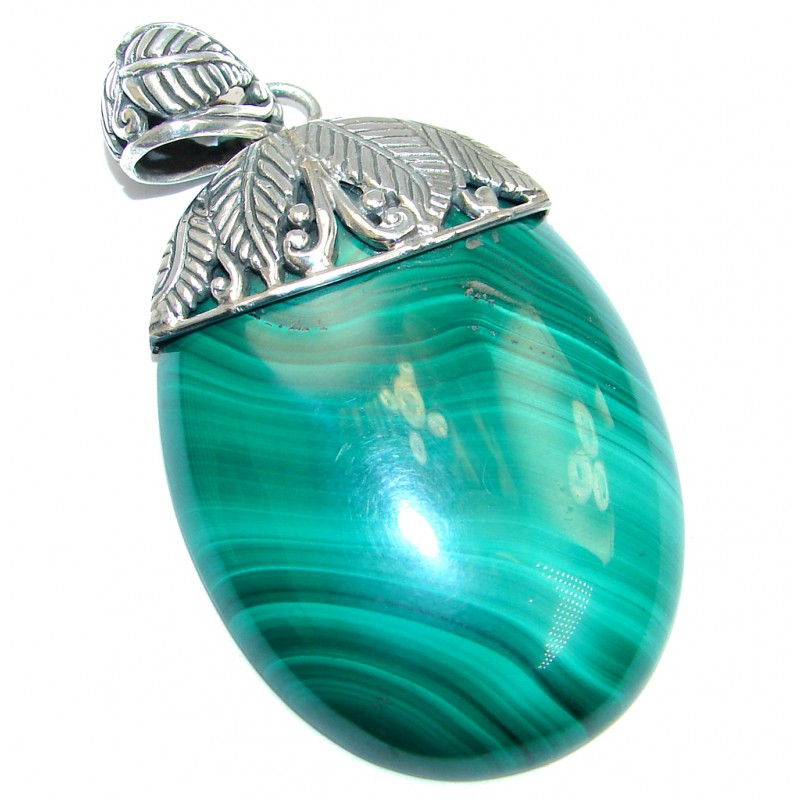 AAA quality Green Malachite Sterling Silver handmade Pendant