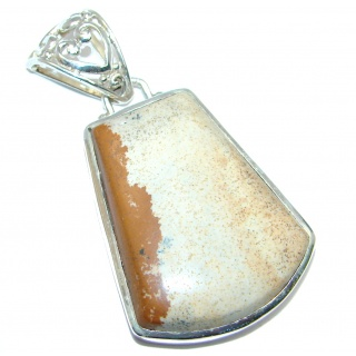 Simple Design AAA Picture Jasper Sterling Silver handmade Pendant