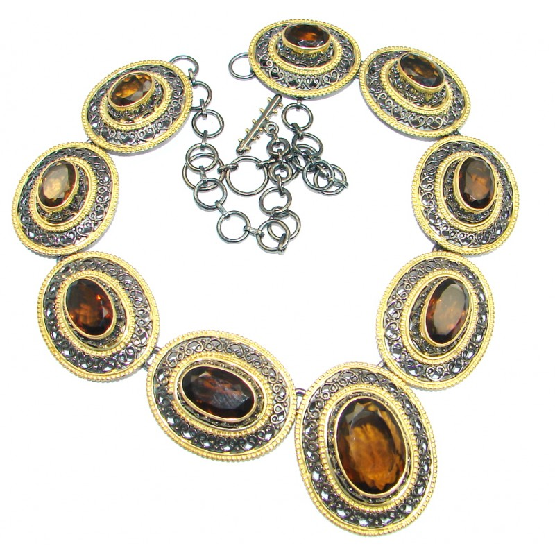Andromeda Smoky Topaz Gold Rhodium plated over Sterling Silver handcrafted necklace