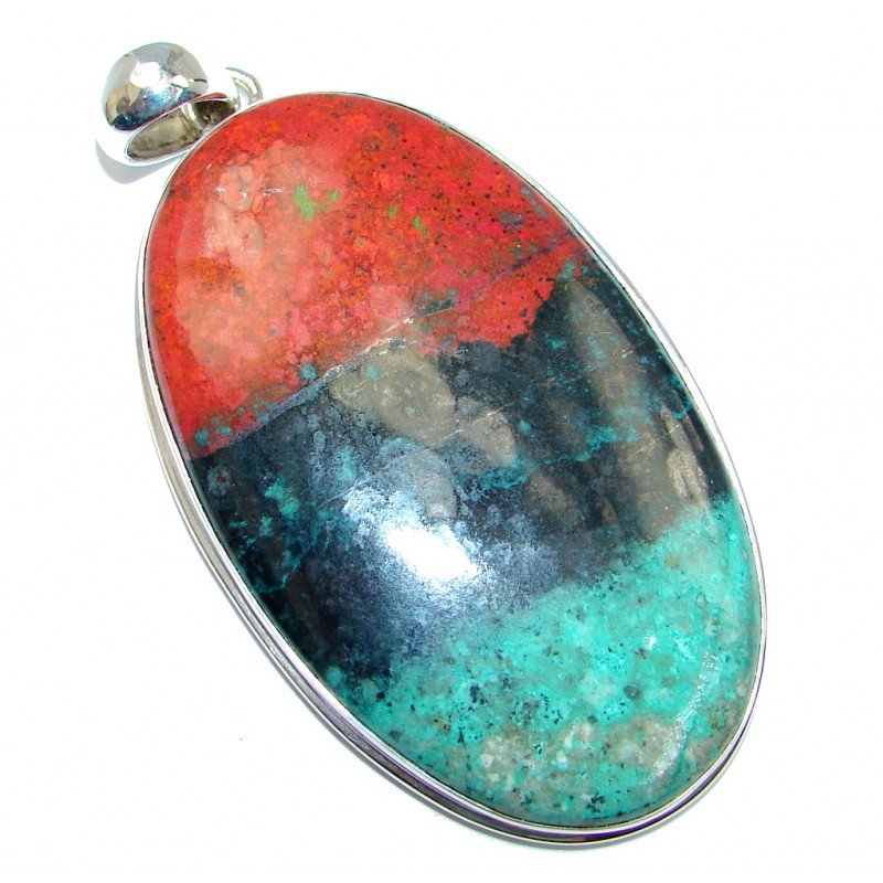 Very Unique Huge Natural Sunrise Sonora Jasper Sterling Silver handmade Pendant