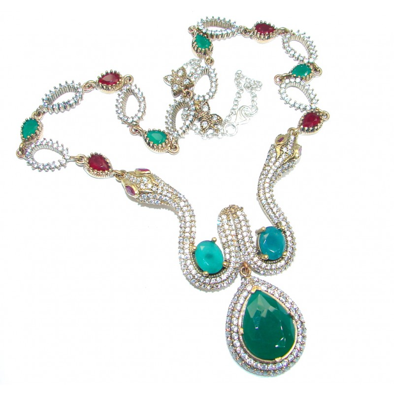 Victorian Style Snakes created Green Emerald & White Topaz Sterling Silver necklace