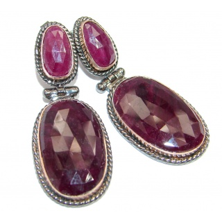 Trendy Fashion Ruby Gold Rhodium plated over Sterling Silver handmade earrings