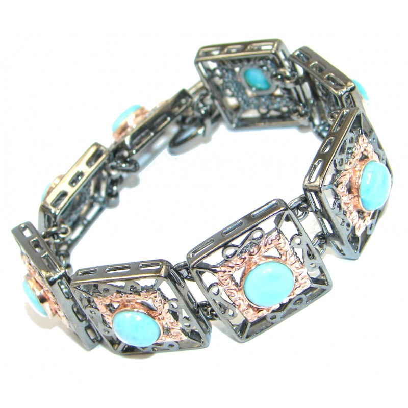 Byzantine Style Natural Larimar Rose Gold Rhodium plated over Sterling Silver handmade Bracelet