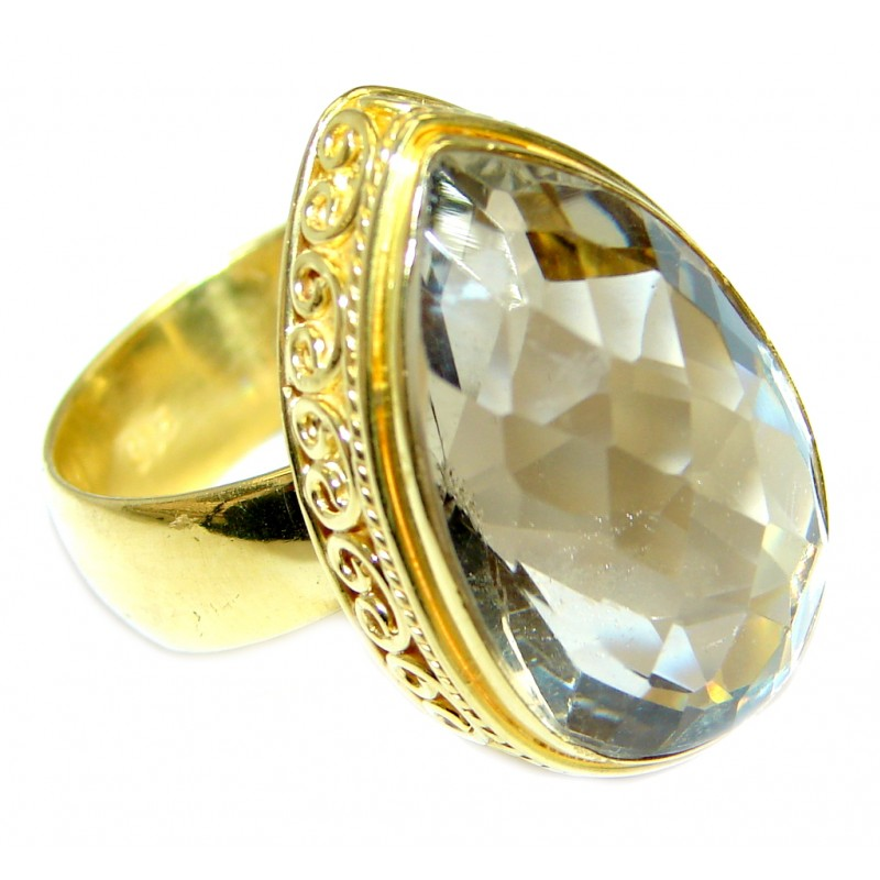 Chunky faceted Green Amethyst Gold plated over Sterling Silver ring size adjustable