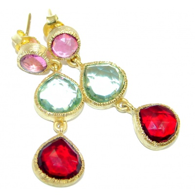 Paradise Multicolor Quartz Gold Plated over Sterling Silver stud earrings