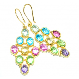 Paradise Multicolor simulated Gemstones Gold Plated over Sterling Silver earrings