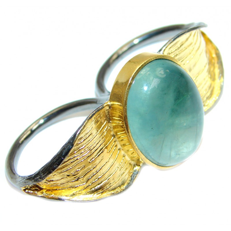 Dream Catcher Green Fluorite Gold over Sterling Silver Two fingers Ring s. 9