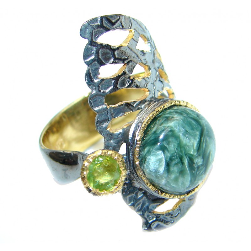 Amazing AAA Green Seraphinite Sterling Silver Ring size 6 3/4