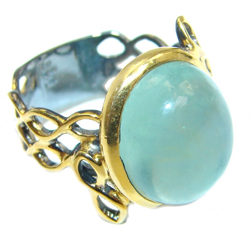 Natural Apatite Gold Rhodium plated over Sterling Silver handmade ring s. 7