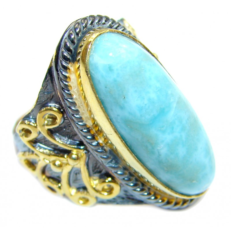Genuine Larimar Blue Topaz Rose Gold Rhodium plated Sterling Silver handmade Ring size 6 1/4