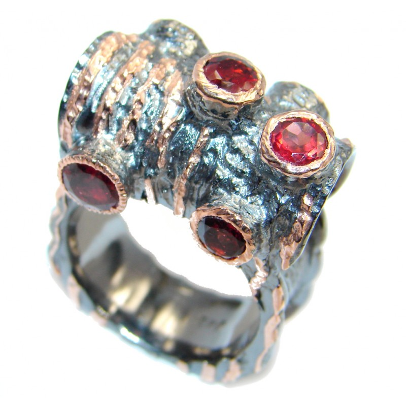 Genuine Garnet Rose Gold Rhodium plated over Sterling Silver handmade Ring 9 3/4