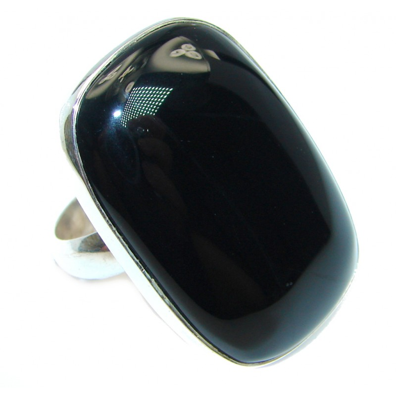 Huge AAA Black Onyx Sterling Silver handmade ring size adjustable