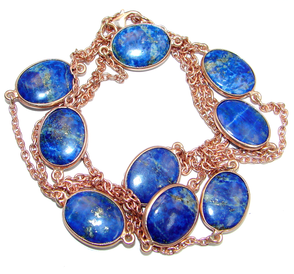36 inches genuine lapis lazuli rose gold plated over