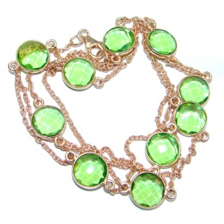 36 inches simulated Peridot Rose Gold plated over Sterling Silver handmade Necklace