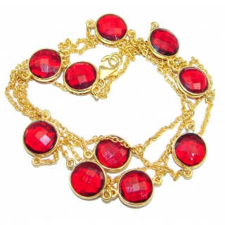 36 inches simulated Garnet Gold plated over Sterling Silver Necklace