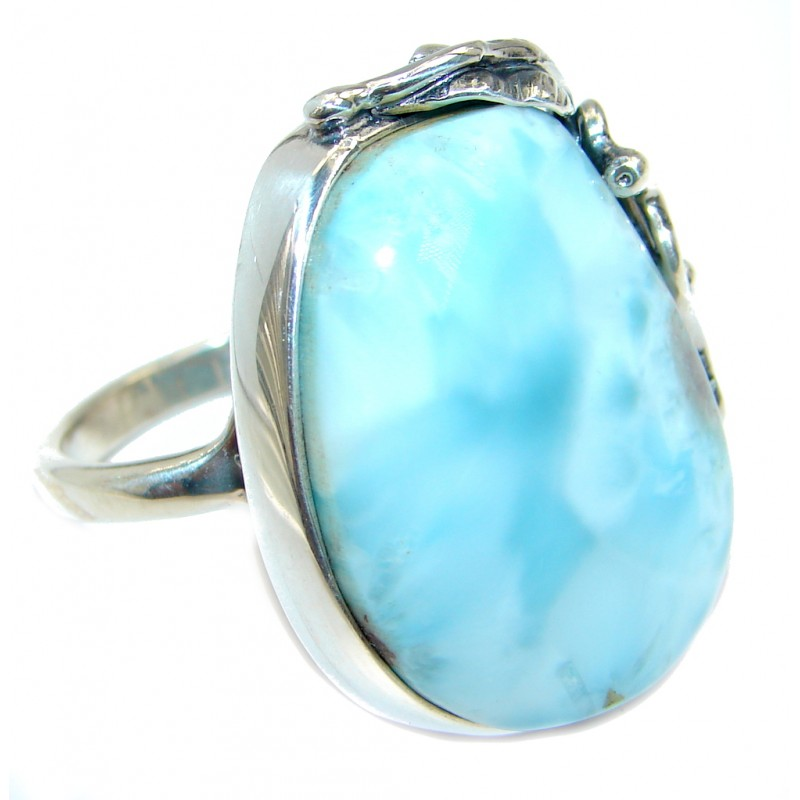 Genuine AAA Larimar Sterling Silver handmade Ring size adjustable