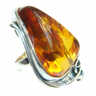Huge Genuine Baltic Polish Amber Sterling Silver handmade Ring size 6 1/4