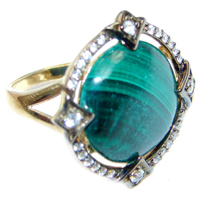 Natural Green Malachite Gold plated over Sterling Silver ring s. 8 1/4