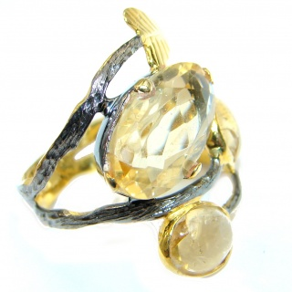 Large Natural Citrine Rose Gold plated over Sterling Silver ring size 7 1/2