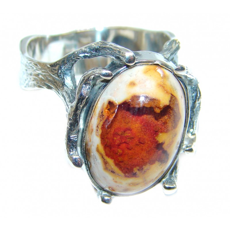 Mexican Fire Opal Oxidized Sterling Silver handmade Ring size 9