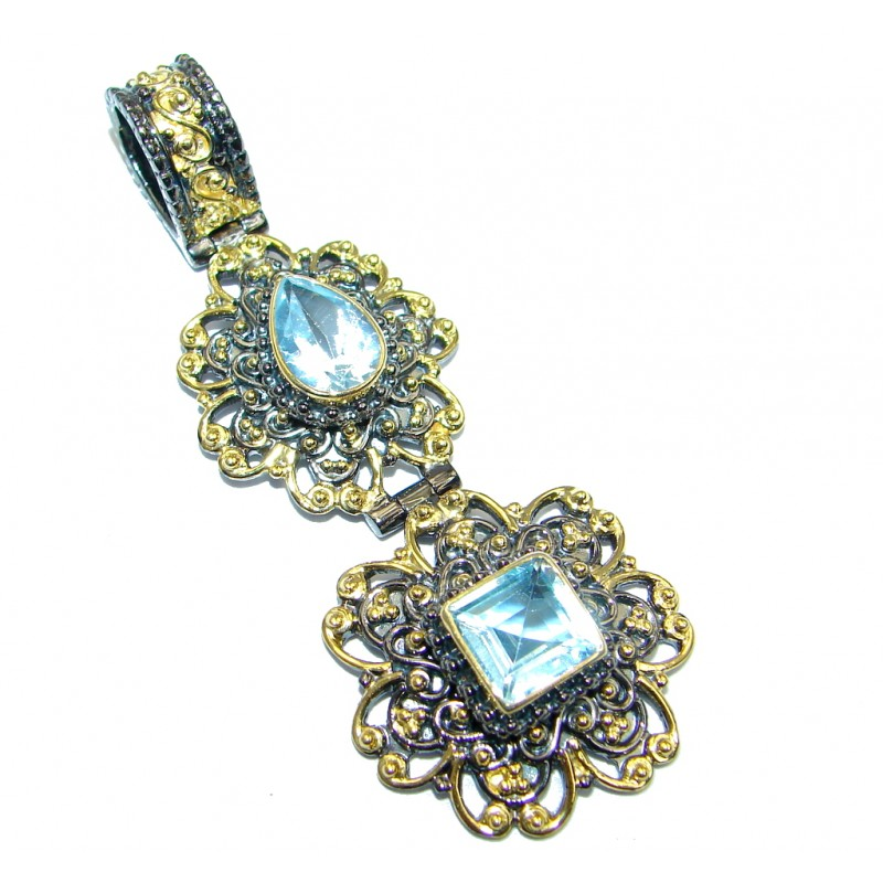 Natural Blue Topaz Gold Rhodium plated over Sterling Silver handmade Pendant