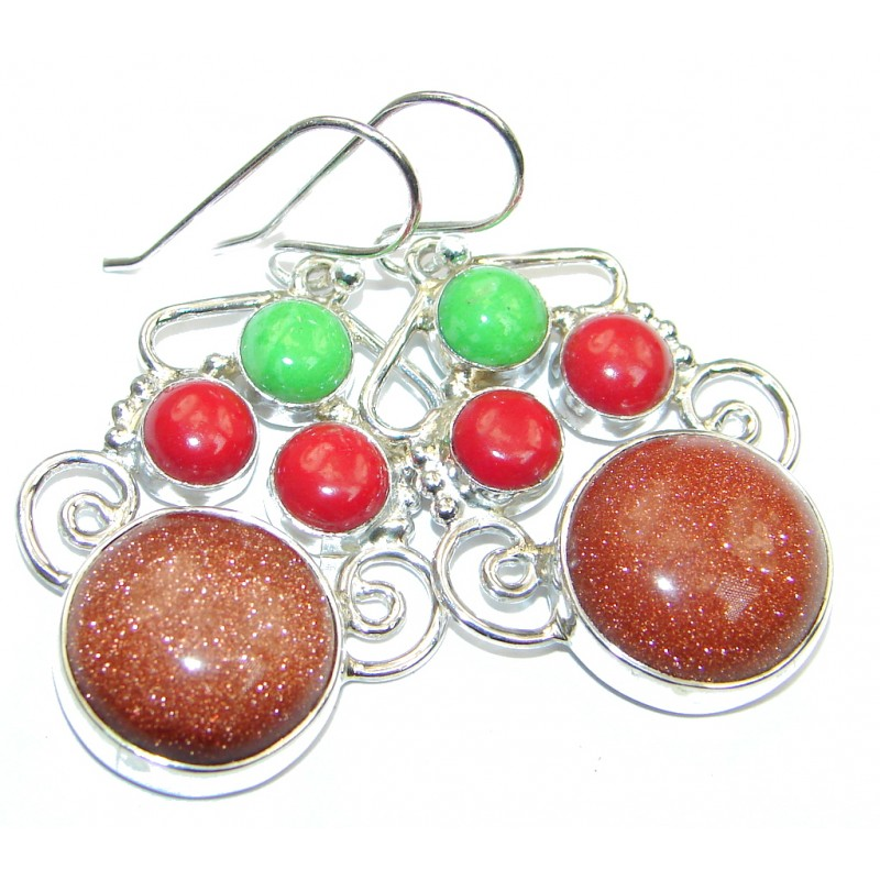 Gorgeous Red Sun Sitara Sterling Silver earrings