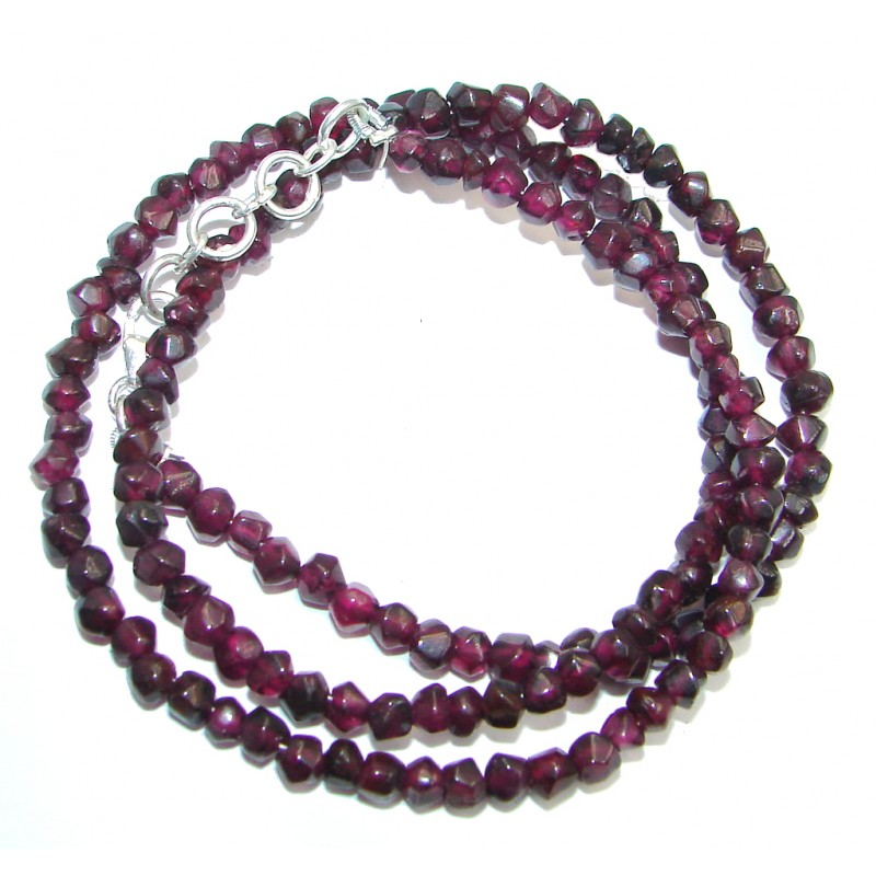 Amazing Genuine Garnet Sterling Silver Necklace