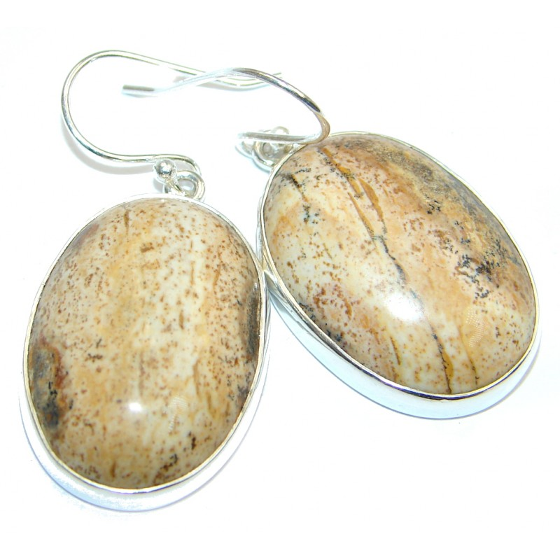 Amazing Picture Jasper Sterling Silver handmade earrings