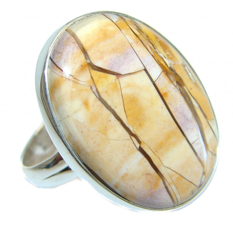 Brecciated mookaite Jasper Sterling Silver Ring size adjustable
