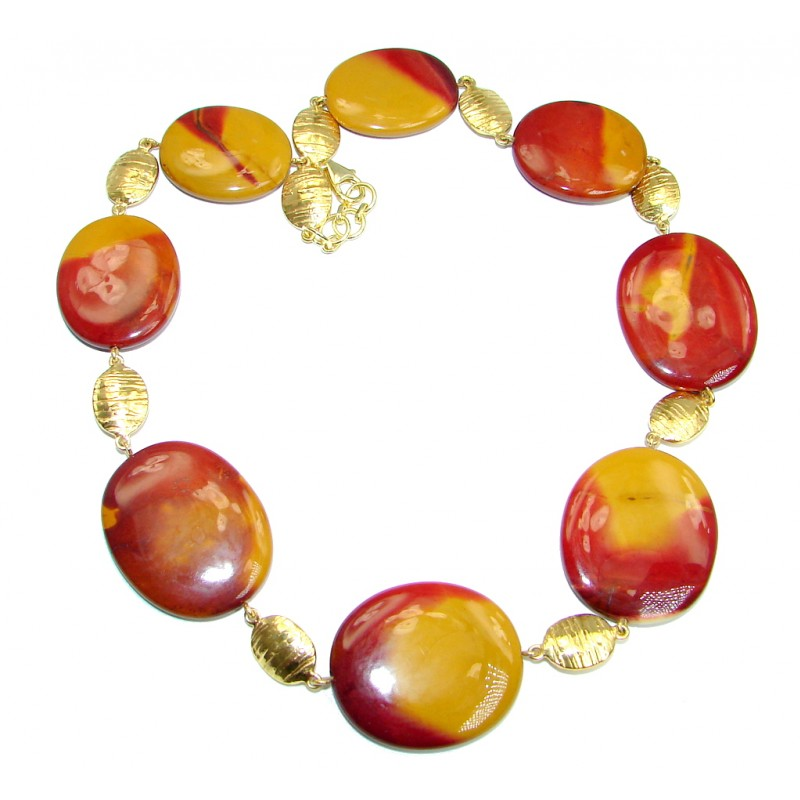 Huge Genuine Australian Mookaite Gold plated over Sterling Silver handmade necklace