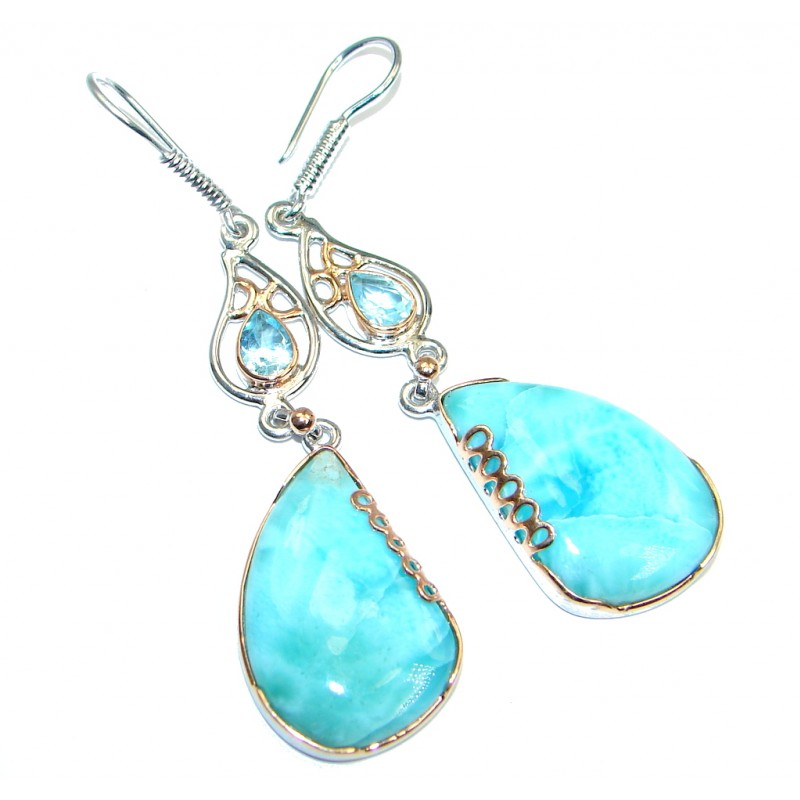 Caribbean Beauty Larimar Rose Gold plated over Sterling Silver handmade earrings