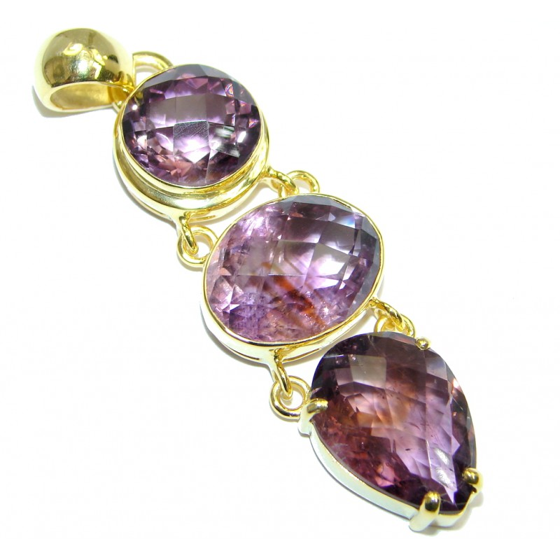 Vintage Style Authentic Amethyst Gold plated over Sterling Silver Pendant