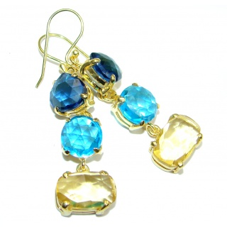 Paradise Multicolor simulated Gemstones Gold Plated over Sterling Silver dangle earrings