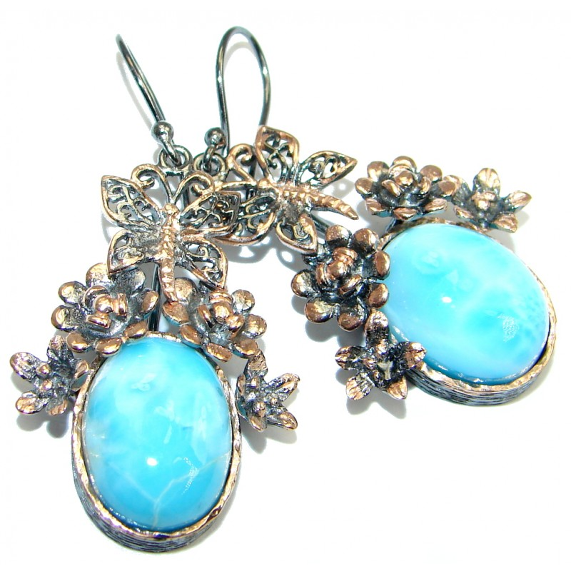 Precious Blue Larimar Gold Rhodium plated over Sterling Silver handmade earrings
